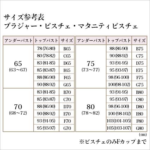 ブライダルブラジャー サイズ表