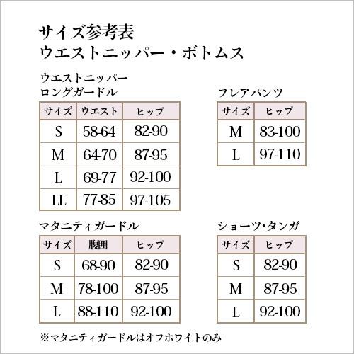 日本製のブライダルインナー ニッパーボトムサイズ表