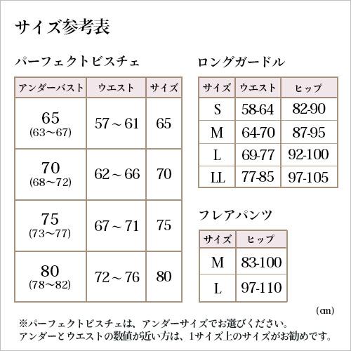 パーフェクトビスチェサイズ表